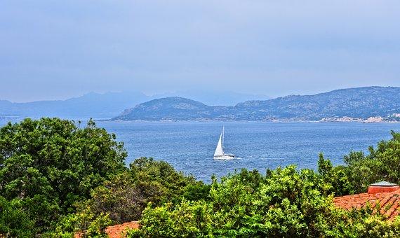Sea, Sail Boat, Coast, Trees, View, Hills, Hilly Coast