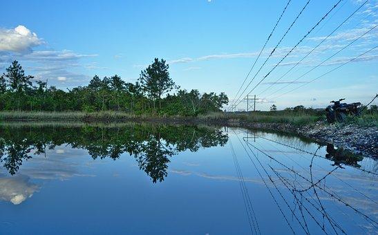 Reflection, Barb Wire Fence, Lake, Trees, Atv, Quad
