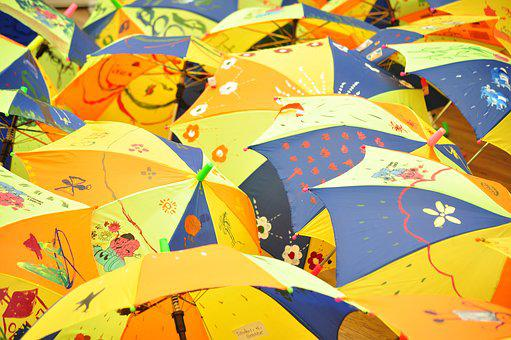 Umbrellas, Kids Painting, Colorful