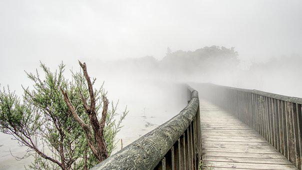 Volcanic, Bridge, Smoke, Mist, Suffers, Wet, Hot
