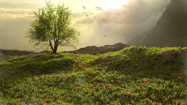 Green, Nature, Mountain, Trees, 3d, Environment, Spring
