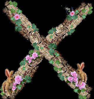 Alphabet, Letter, X, Rustic, Timber, Bark
