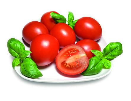 Tomato, Red, Basil, A Vegetable, Eating, Fresh