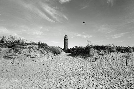 Baltic Sea, Beach, Lighthouse, Dunes, Fischland-darß