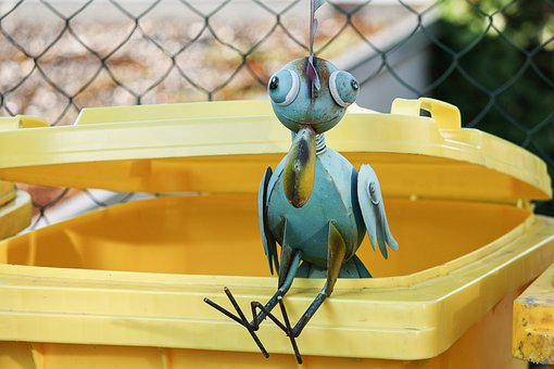 Metal Bird, Dustbin, Yellow Ton, Decoration, Bird, Art