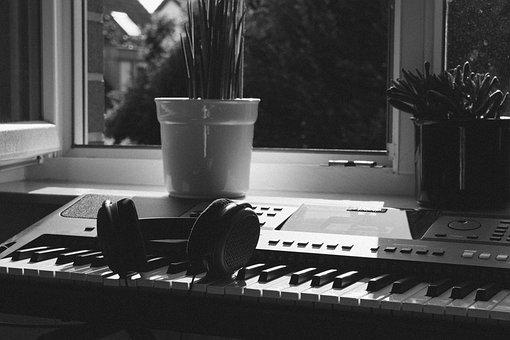 Headphones, Keyboard, Piano, Black And White, Music