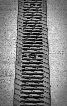 Rain Gutter, Drain, Metal, Channel, Ground, Pattern