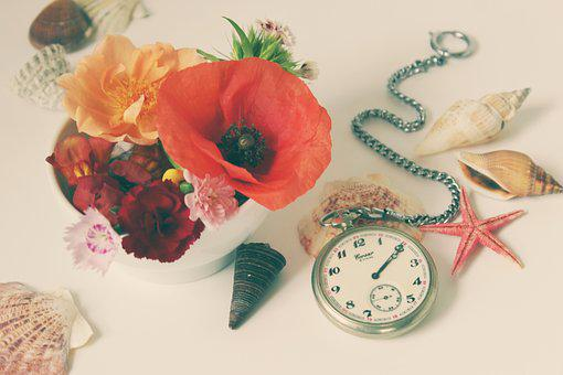 Flowers, Still Life, Clock, Pocket Watch, Summer Time
