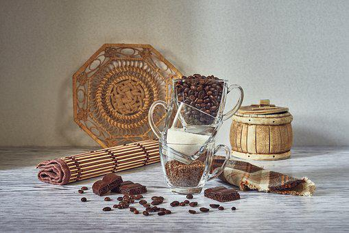 Still Life, Composition, Staging, Coffee, Cup, Grains