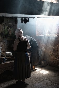 Kitchen, Light, Light Shadow, Middle Ages, Costume