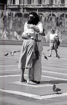 Couple Of Lovers, Hug, Piazza Duomo, Milan Italy
