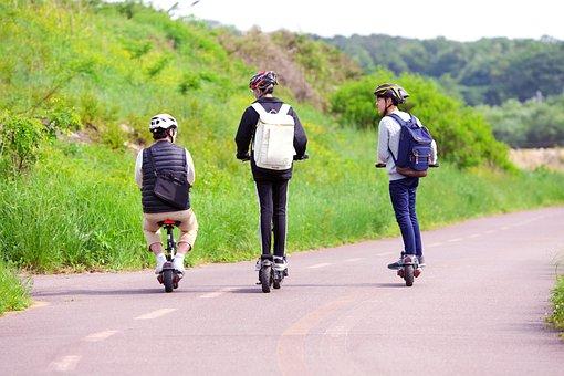 Three People, Teenager, Fun, Electric Bike, Road, Board