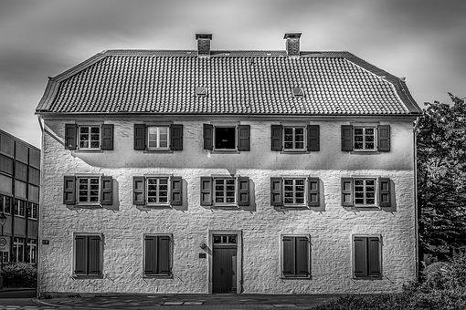 House, Facade, Monochrome, Building, Architecture