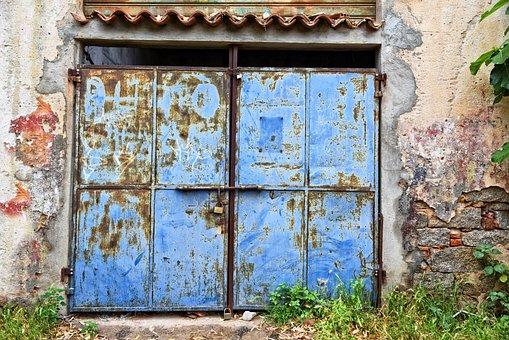 Metal Door, Doorway, Entrance, Facade, Stone Wall