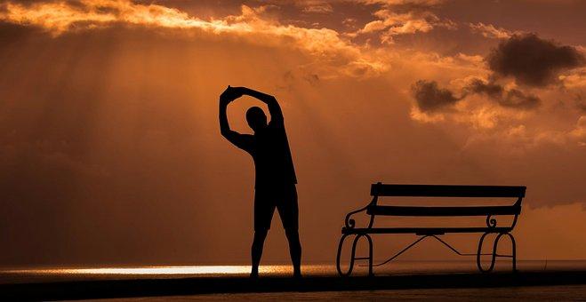 Fitness, Sunset, Sport, Dusk, Open Air, Silhouette