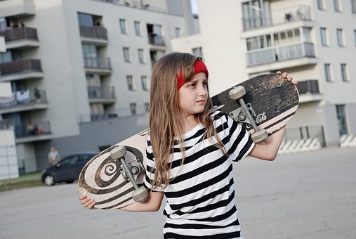 Kids, Girl, Skateboard, Sports, Health, Portrait, Girls