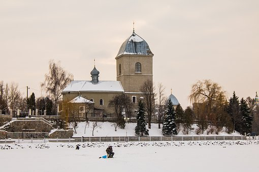 Church, Orthodox, Ice Fishing, Religion, Architecture