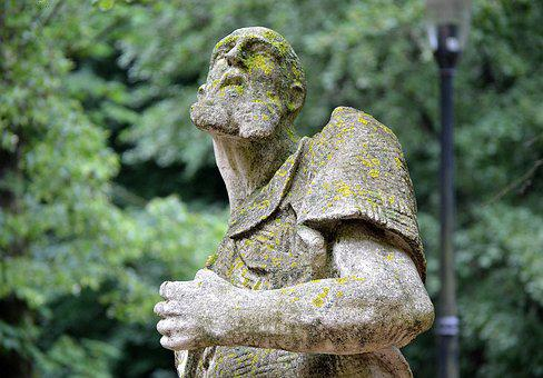 The Statue Of, A Man, Art, Monument, Patina, Stone