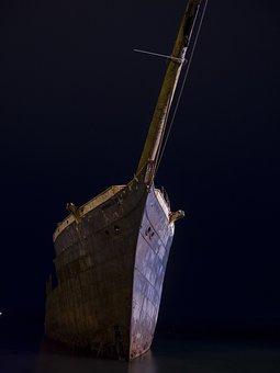 Boat, Sea, Night, Punta Arenas, Chile, Antarctica