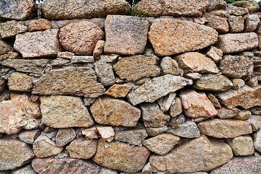 Stone Wall, Rock, Granite, Masonry, Material, Aged