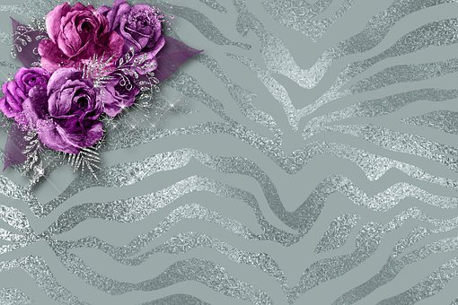 Roses, Background Image, Silver, Noble, Decorative