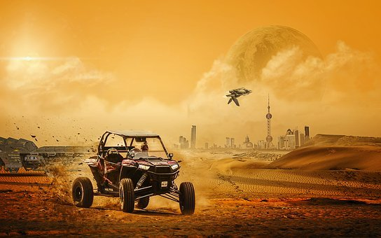 Science Fiction, Beach Buggy, Spaceship, Desert Planet