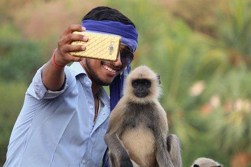 Selfie With Monkey, Monkey, Boy, Camera, Phone, Mobile