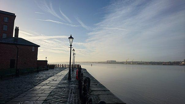Liverpool, City, Sky, Water, Mersey, England, Travel