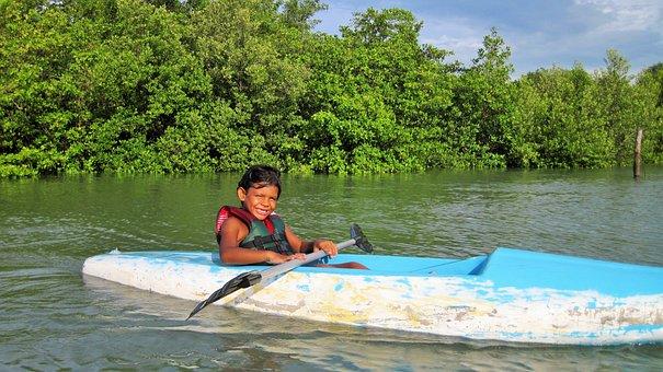 Boy, Kayak, Mangue, Sol, Smile, Child, Landscape, Lake