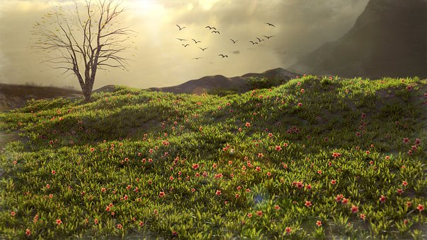 Green, Nature, Mountain, Natural, Trees, 3d