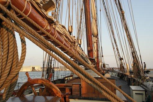 Ship, Helm, Mast, Rope, Ropes, Brown, Wood, Water, Sky
