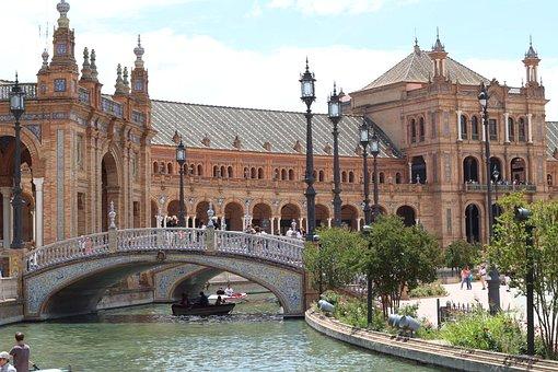 Sevilla, Monument, Castle, Channel, Fun, Bridge