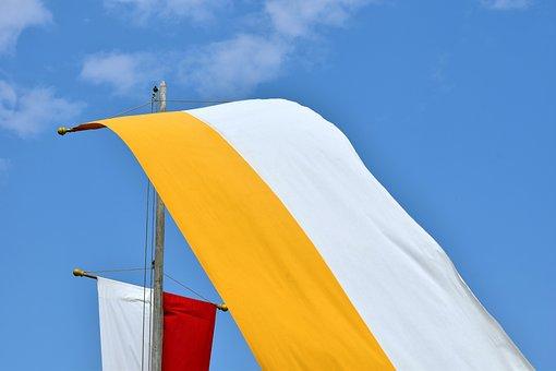 Flag, Sky, Church, Corpus Christi, Yellow, Red, White