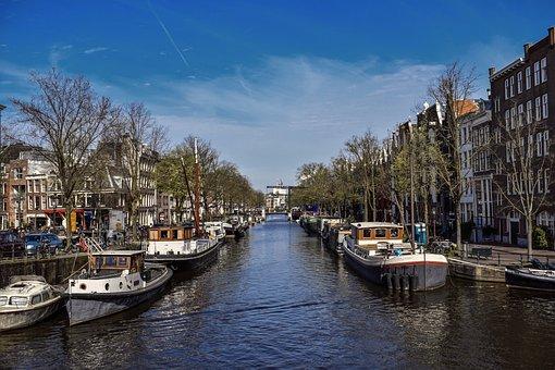 Amsterdam, City, Channel, Bike, Holland, Architecture