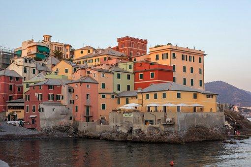Colourful Houses, Genoa, Italy, Holiday, Colorful, Sea