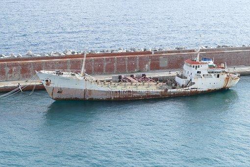 Frachtschiff, Old, Rust, Port, Freighter, Transport