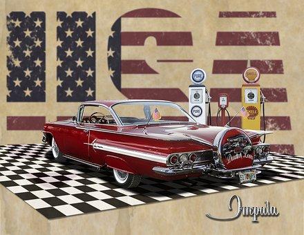 Classic, Gas Pumps, Chevrolet, Chevy, Hardtop, Vintage