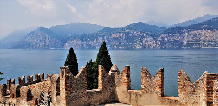 Castle, Lake, Mountains, Water, Historically, Landscape
