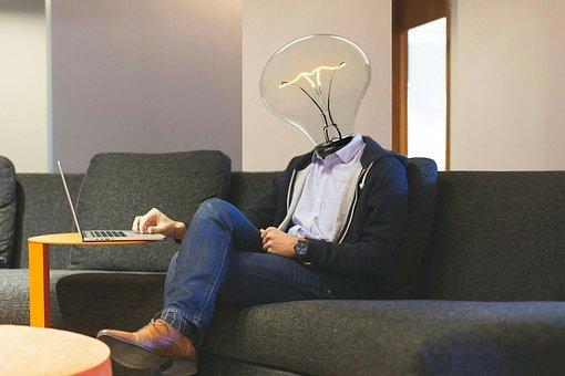 Lightbulb, Workplace, Laptop, Idea, Inspiration