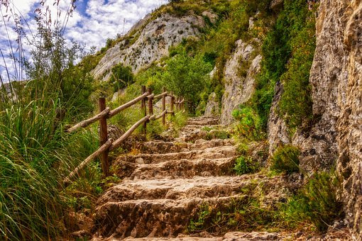 Hiking, Trail, Sicily, Italy, Gradually, Stairs, Steep