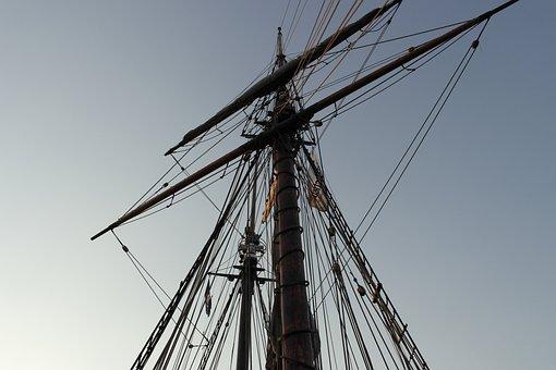 Mast, Sky, Rope, Ropes