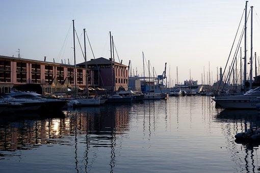 Port, Genoa, Evening Sun, Mirroring