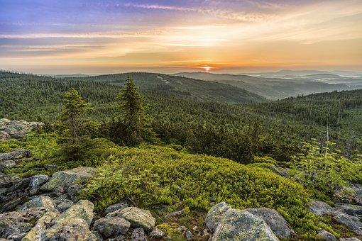 Lusen, Sunrise, Panorama, Landscape, Morgenrot, Skies