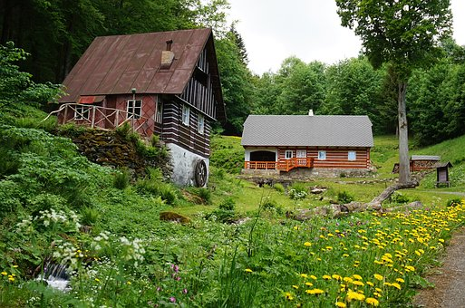Cottage, Mountains, Spring, Czechia, Nature, House