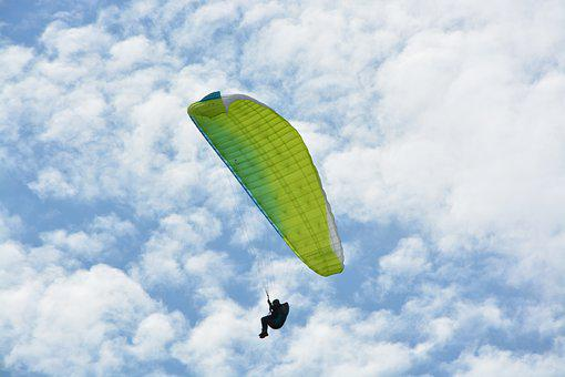 Paragliding, Paraglider, Green Sail, Sports Activities