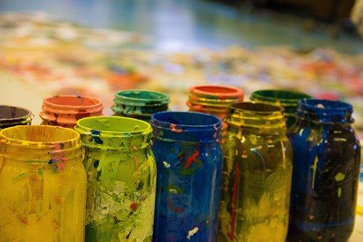 Paint, Color, Design, Blue, Yellow, Red, Splash