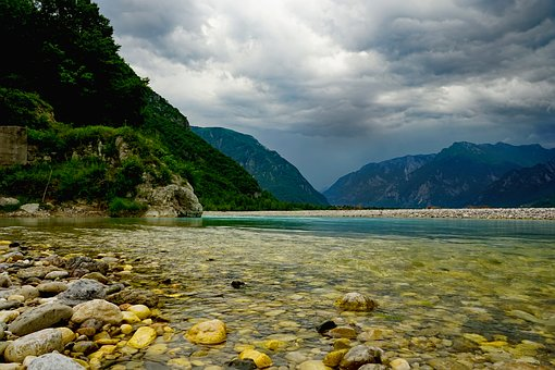 Nature, Mountains, River, Clouds, Thunderstorm
