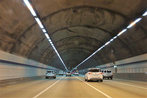 Tunnel, Road, Highway, Running, Car