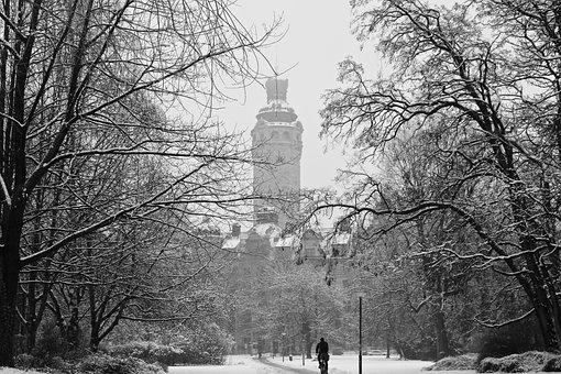 Leipzig, City, Winter, Snow, Park, Saxony, Town Hall