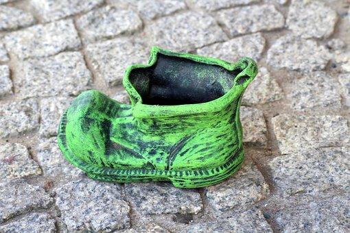 Shoes, Green, Decoration, Flower Pot, Pavement